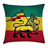 rasta federa per cuscino, Judah Re Leone con una bandiera Rastafari Reggae Theme stampa artistica, decorative Square Accent Pillow case, 45,7 x 45,7 cm, nero, verde, giallo e rosso