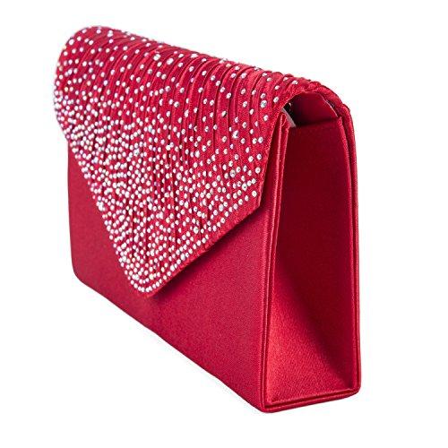 Pochette da sera con chiusura a busta, con strass, effetto satinato (rosso) Rosso