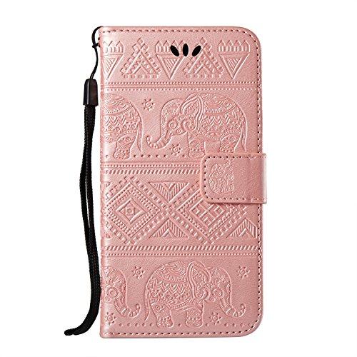 EKINHUI Case Cover Bright Elephant Embosseing Pattern PU Ledertasche Horizontale Flip Stand Brieftasche Tasche mit Lanyard & Card Slots für iPhone X ( Color : Purple ) Pink