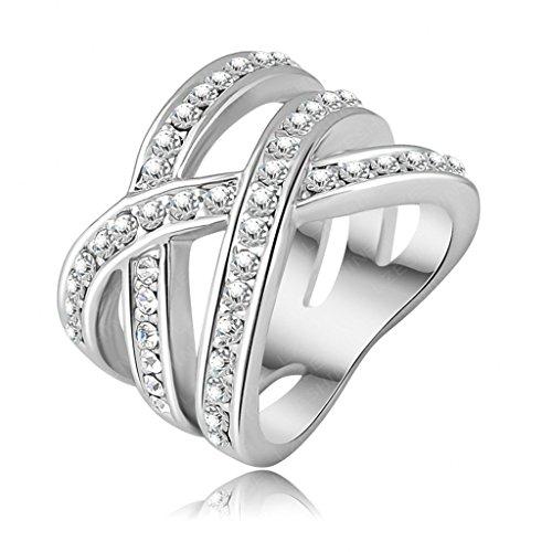 Femme Fille 18K Plaqué Or Bague Engagement Mariage Anneau Alliage Double Croix Taille 59 - Aooaz