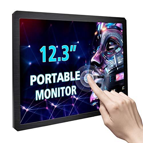12,3 Zoll Touchscreen Portable Tragbarer Monitor Display 1600X1200 4: 3 IPS HDMI/VGA/DVI-Eingangsanzeige für Industrieausrüstungsmikroskop Raspberry Pi A B A + B + 2B 3B 3B + Touchscreen