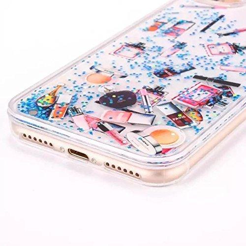 iphone 7 hülle flüssig, LuckyW PC Hardcase Handyhülle für Apple iPhone 7 7S(4.7 zoll) 3D Bling Glitter Glitzer Flowing Fließend Liquid Flüssig Shinny Moving Star Floating Trend Schwimmend Treibend Ste Blau Make-up