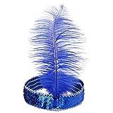 Bodya Haarband 20's Deluxe blau silber Flapper Pailletten Charleston Kleid Kostüm Haarband Kopfbedeckung