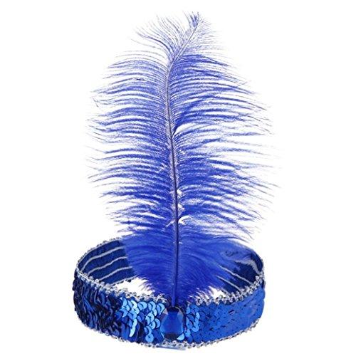 Bodya Haarband 20's Deluxe blau silber Flapper Pailletten Charleston Kleid Kostüm Haarband (Dance 1930's Kostüme)
