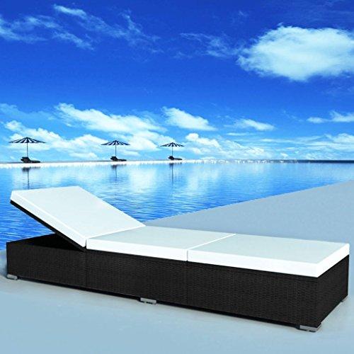 Sonnenbrille Seiten Mit Weißen (lingjiushopping Sonnenliege mit Kissen Polyrattan 195x 60x 31cm schwarz Farbe des Kissen: Weiß Creme Sonnenliege)