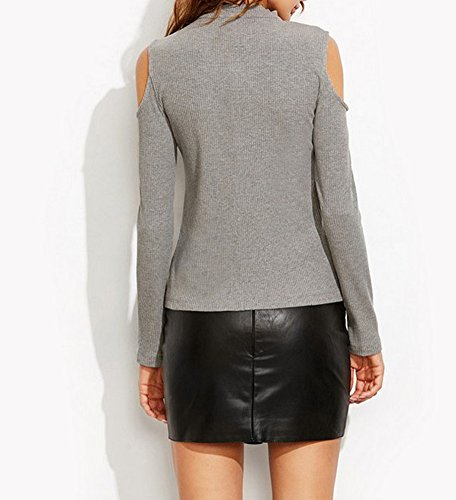 Maglioni Da Donna Sciolto Manica Lunga V-Neck Blouse Maglietta Pullover Maglione Maglieria Top Sweatshirt Grigio
