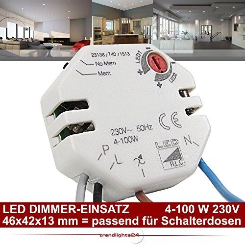 Preisvergleich Produktbild LED Dimmer-Einsatz 4-100 Watt für LED 230V GU10 + 12V GU5.3 stufenlos; Memory-Funktion; für Einsatz in Schalterdosen/UP-Dosen/Installationsdosen/Hohlwanddosen geeignet Phasenanschnitt/Phasenabschnitt