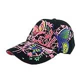 BZLine® Mode Femme Chapeau Hip-Hop en Coton | Casquette de Sport avec Fleurs, Papillons Bordés | Taille Ajustable, Multicouleur (Noir)