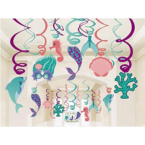Bdecoll Meerjungfrau Geburtstagsparty Dekorationen,30 Stück Mermaids Hängedekoratio/Girlanden Meerjungfrauen Party- Let's be Mermaid-Meerjungfrau Schwanz für Mädchen Geburtstags Party