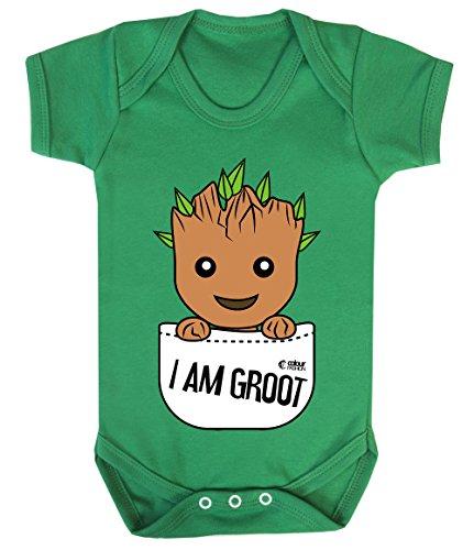 (Colour Fashion Groot Im Tasche Superheld Lustig Kostüm Baby Body 100% Cotton 0-24 - Smaragd-grün, 3-6 Months)