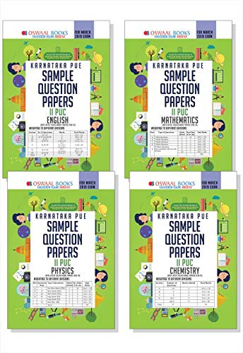 Oswaal Karnataka PUE Sample Question Papers for PUC II (Set of 4 Books) English, Maths, Physics, Chemistry (For March 2019 Exam)