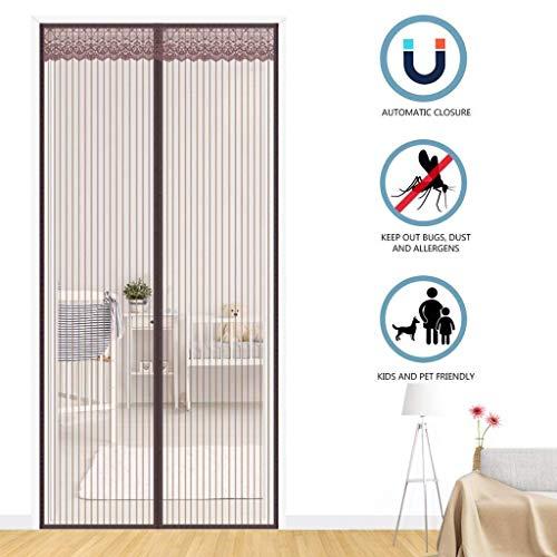 XHCP Magnetic Screen Tür, mit Heavy-Duty-Mesh-Vorhang, einfache Installation, automatisch geschlossen, für Balkon Schiebetüren Wohnzimmer - Braun 33x79inch (85x200cm)