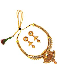 Satyam Jewellery Nx Traditional Golden Neck Fit Necklace Set For Women Jewellery