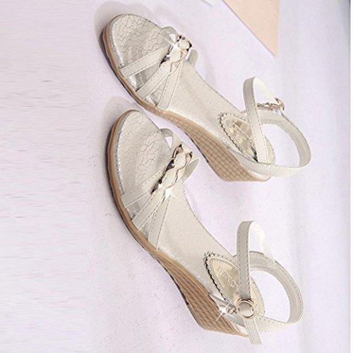 Frauen böhmische Piste Sandalen, Kaiki Sommer Sandalen Frauen Hang Flache Schuhe Römische Sandalen Schuhe Frau Flip Flops Beige
