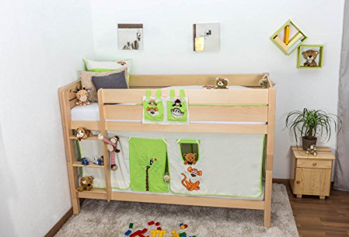 Bunk Bed / Children's bed Rene, solid beech wood, clearly varnished, incl. slatted frame - 90 x 200 cm