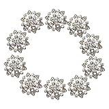 Phenovo Boutons à Coudre Forme de Fleur en Strass 22mm Lot de 10pcs