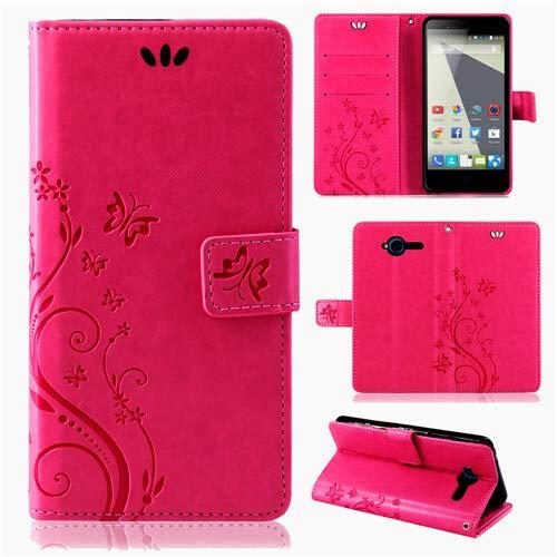 betterfon | Flower Case Handytasche Schutzhülle Blumen Klapptasche Handyhülle Handy Schale für ZTE Blade L3 Pink