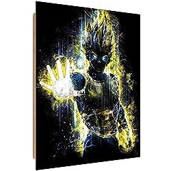 Feeby. Cuadro decoración - 1 Parte - 50x70 cm, Imagen Pintura Impresión Deco Panel, Vegeta - Barrett Biggers, DRAGON BALL Z, ANIME, AMARILLO