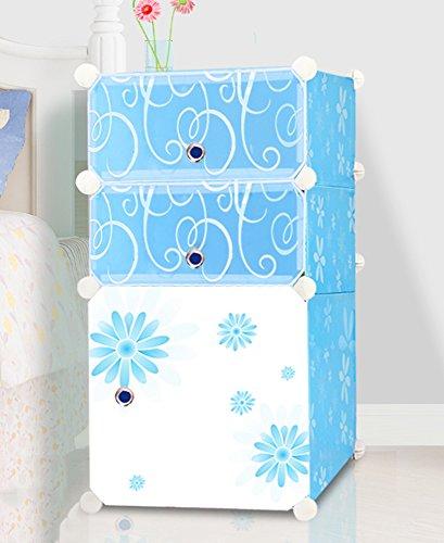 Flashing-DIY Armoires de rangement de petite armoire de mode avec portes, armoire de rangement moderne simple d'assemblage, armoire de mini-chevet en plastique simple de PVC de résine(37*37*71cm) ( Couleur : Bleu , taille : 37*37*71cm )