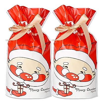 FLOFIA 50pcs Bolsas Bolsitas de Regalo Navidad Pequeñas Bolsas Plástico Navidad Con Cordón para Caramelos Dulce Chuche Galletas Regalos de Fiesta DIY Calendarios de Adviento (MERRY CHRISTMAS)