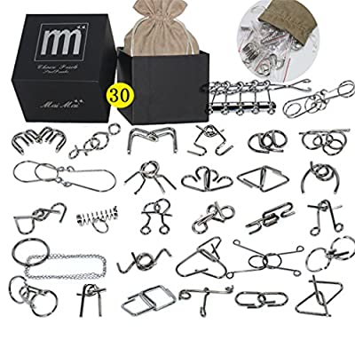 Holzsammlung Metal Wire Puzzle Ring Brain Teaser Classical Intellectual Puzzles Game Magic Trick Toy Gift for Kids Students Adults Challenge - Black Box Pack IQ Test Disentanglement Set of 30 #21