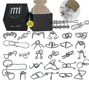 Gracelaza 30 Piezas Juguetes Mágicos de Alambre de Metal Set – 3D Rompecabezas Brain Teaser Puzzle – IQ Inteligencia…
