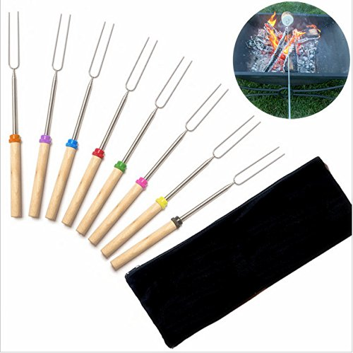p Marshmallow Bräter Sticks 81,3cm Teleskop Hot Dog Rösten Gabeln–BBQ Bräter Gabeln/Smores Spieße/Sticks für Kinder + Profi Grill-Gabel Tasche (Rösten Marshmallows)