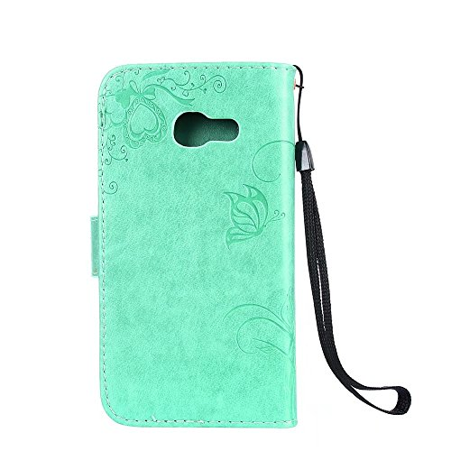 Horizontale Bookstyle Flip Case Premium PU Ledertasche, Solid Color Embossed Blumen Schutzbrieftasche Case Cover mit Lanyard & Stand für Samsung Galaxy A3 (2017) ( Color : Rose gold ) Green