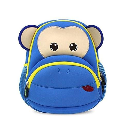 NOHOO Kinderrucksack für Kindergarten Mädchen Junge Affe Blau - Zoo Blu Animali