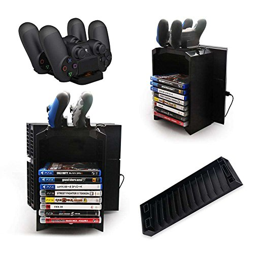 Multifunktions-Standfuß-Kit, TechCode Multi-functional storage stand kit für PS4 Game Discs Controller mit Dual-Controller-Ladestation.