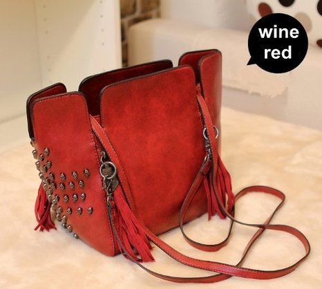 Estilo europeo moda Punk Rock Retro bolsa de flecos borla calavera bolsas de hombro mujeres bolsa Tote bolso bandolera bolsas, rojo vino (negro) - ZLPU03