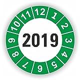 5-1.000 Stück Prüfplaketten Prüfetiketten Wartungsetiketten Jahresplakette 2019 Ø 30mm (Grün 30 Stück)