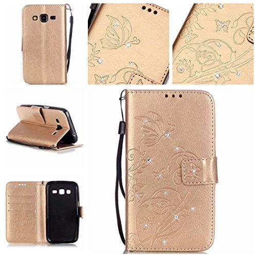 Nancen Samsung Galaxy Core Prime (SM-G360 / SM-G361) (4.5 pouces) coque , PU Cuir Portefeuille Etui Housse Case Cover , carte de crédit Fentes pour , L'utilisation de la technologie de pointe , gaufrage , cristal de diamant - Fleur - Butterfly , idéal pour protéger votre téléphone ,
