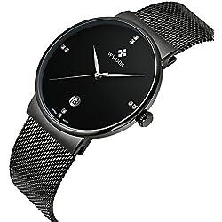 wwoor Herren 's Ultra dünnes Mesh-Band Edelstahl Uhren Männlich Elite Sport Datum Armbanduhr Schwarz