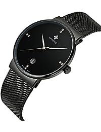 WWOOR - Reloj de pulsera de caballero con correa ultra fina de acero inoxidable, para deportes, muestra la fecha, color negro