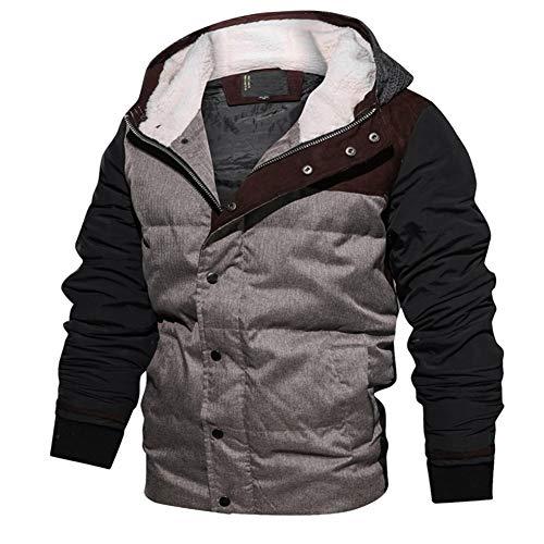 TOVKC Jackets Herrenjacke Gepolsterte Männer Winter Bomberjacke Dicke Thermische Baumwolle Parkas Mens Casual Hoodies Stehen Warme Mäntel,...