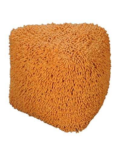 Rugs2Clear Hand Made Without Filler Orange Cotton Vivid Pouf (40cm X 40cm X  40cm)