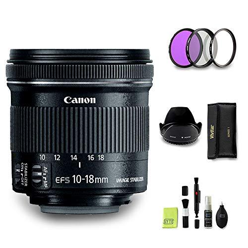 GYTE Bundle | Objectif Canon - EF-S 10-18mm f/4.5-5.6 IS STM - Objectif Grand Angle pour Appareil Photo Numérique + 3 pièces de filtre + pare soleil + Kit de nettoyage | Pack d'accessoires Premium