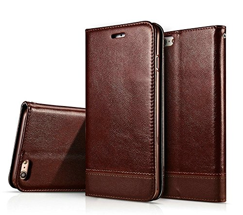 Mixed Color Stitching Style Double Side Magnetverschluss Ultra Slim Premium Leder Tasche mit Kickstand Card Slots für iPhone 6 / 6s ( Color : Black ) Brown