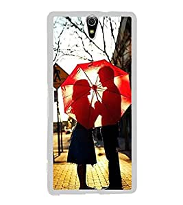 Fuson Designer Back Case Cover for Sony Xperia C5 Ultra Dual :: Sony Xperia C5 E5533 E5563 (Lovely Couple Couple In Love Couple With Umbrella Red Umbrella Nice Couple Made For Each Other)