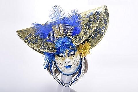 K&C Halloween Kostüm Masquerade Maske Venedig Stil Maske Mit Federn Blau (Griechischen Frau Kostüm)
