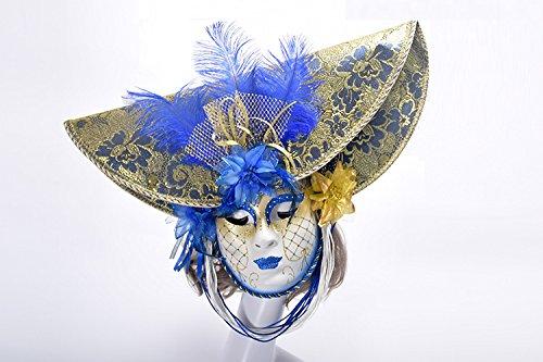 K&C Halloween Kostüm Masquerade Maske Venedig Stil Maske Mit Federn Blau (Kostüm Für Hippie Make-up)