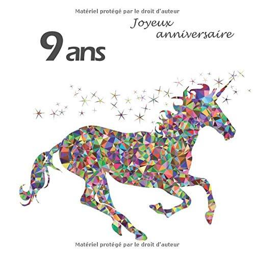 Joyeux Anniversaire 9 ans: Livre d'or, Cheval, 100 pages, Format carré 21,59 x 21,59 cm