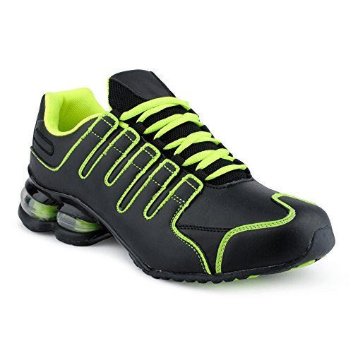 Fusskleidung Herren Damen Sneaker Sportschuhe Lauf Freizeit Neon Runners Fitness Low Unisex Schuhe Schwarz/Grün-M EU 44