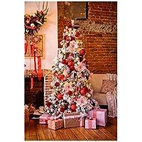 Uonlytech Navidad Fotografía Telón de Fondo Navidad Tema Árbol de Navidad Regalos Tela pictórica Fotografía Personalizada Fondo Estudio Prop 3x5ft