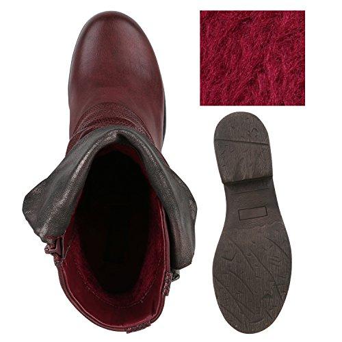 Damen Biker Boots Nieten Schnallen Stiefeletten Rockig Gr. 36-42 Rot