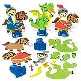 """Aufziehfiguren-Sets """"Ritter und Drache"""" für Kinder Zum Gestalten, Basteln und Dekorieren – Kreatives Bastelset für Kinder (3 Stück)"""