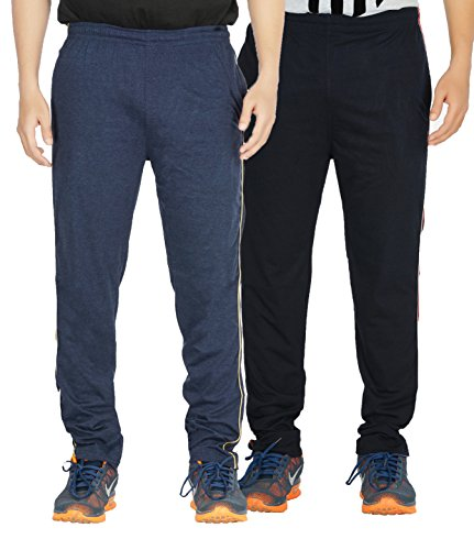 Yo Republic Mens Cotton Track Pant Combo Offer (Pack of 2)(AT-0415-1L_Blue_Navy Blue_Large)
