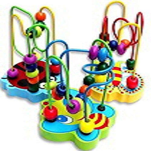 Koly ¡Venta caliente! 1 PC Bebé juego educativo Mini madera colorido alrededor de bolas juguete