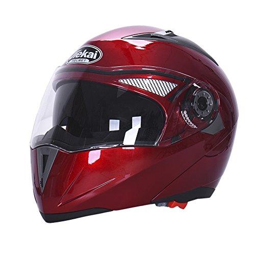 Hjuns Motorradhelm Integralhelme mit Visier - für Offroad/Enduro/Touring Sport (L, Red)